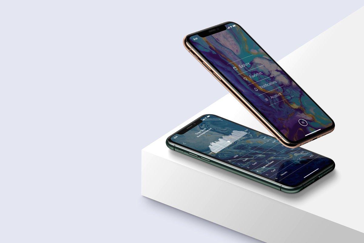 应用程序&网站UI界面设计预览图等距iPhone 11 Pro手机样机模板 Isometric iPhone 11 Pro Scene mockup插图1