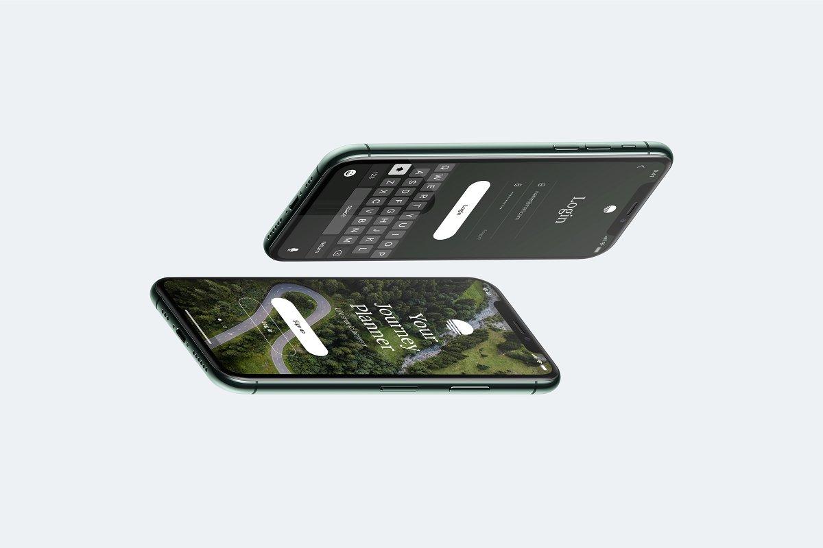 应用程序&网站UI界面设计预览图等距iPhone 11 Pro手机样机模板 Isometric iPhone 11 Pro Scene mockup插图4