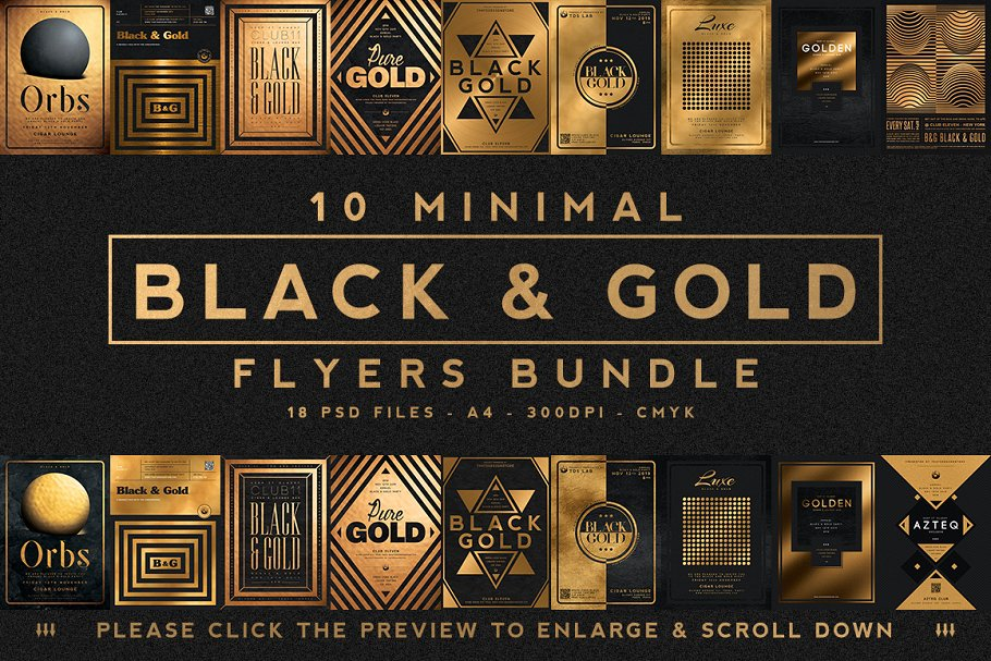 10款A4音乐会主题黑色&金色宣传单设计模板套装 10 Minimal Black & Gold Flyer Bundle插图