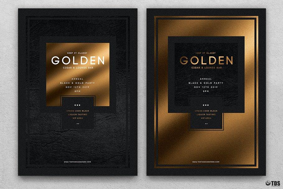 10款A4音乐会主题黑色&金色宣传单设计模板套装 10 Minimal Black & Gold Flyer Bundle插图(1)