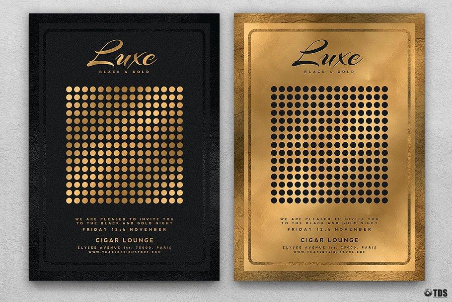 10款A4音乐会主题黑色&金色宣传单设计模板套装 10 Minimal Black & Gold Flyer Bundle插图(2)
