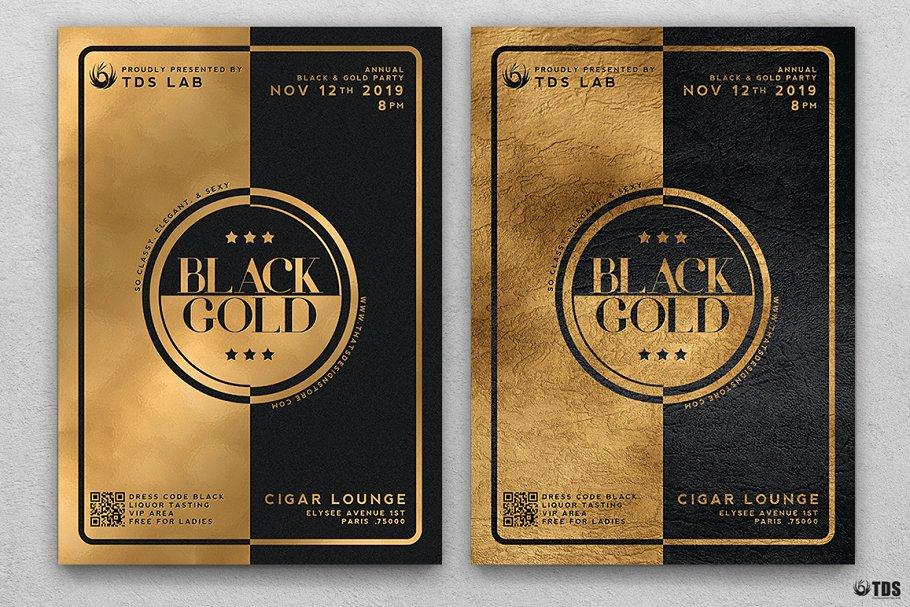 10款A4音乐会主题黑色&金色宣传单设计模板套装 10 Minimal Black & Gold Flyer Bundle插图(3)