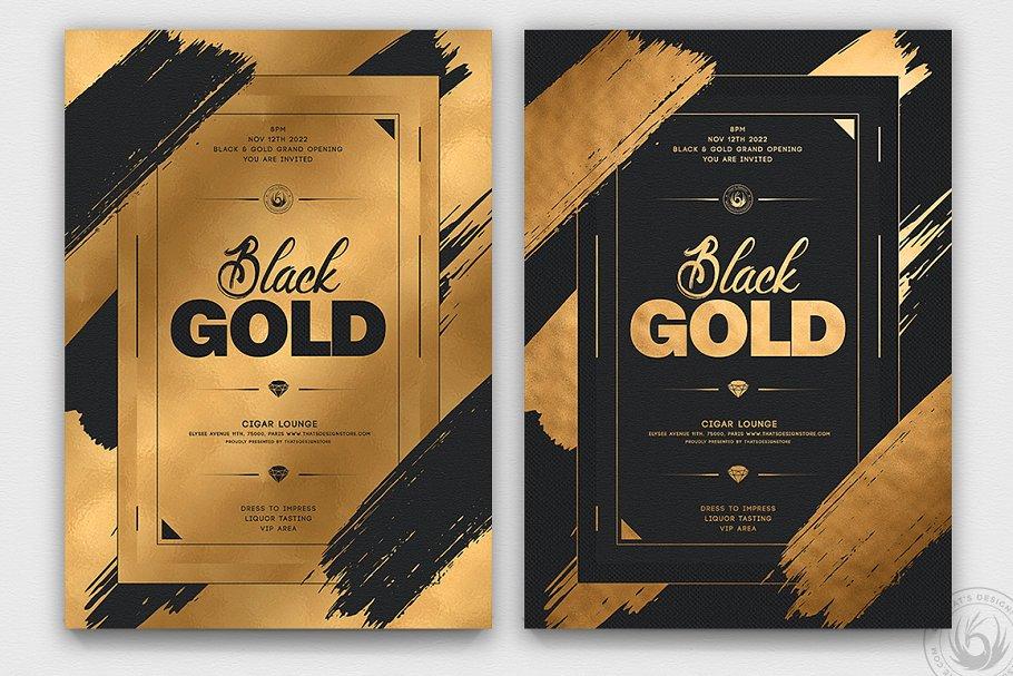10款高端黑色&金色宣传单设计模板套装V2 10 Black and Gold Flyers Bundle V2插图(5)