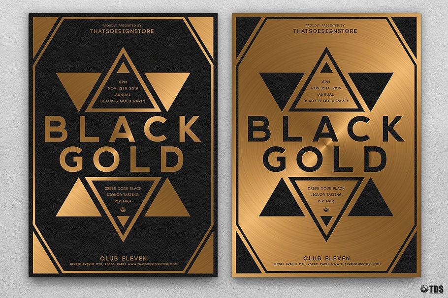 10款A4音乐会主题黑色&金色宣传单设计模板套装 10 Minimal Black & Gold Flyer Bundle插图(4)