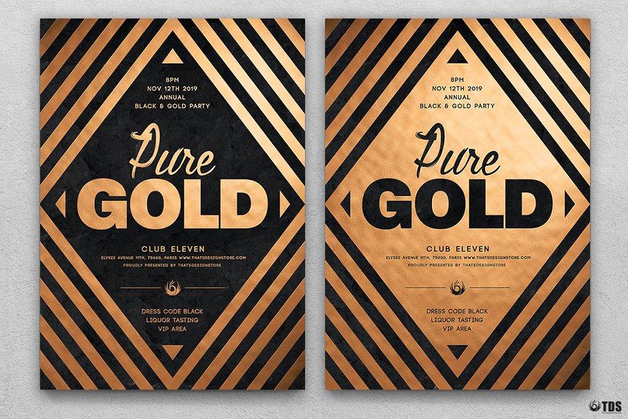 10款A4音乐会主题黑色&金色宣传单设计模板套装 10 Minimal Black & Gold Flyer Bundle插图(5)