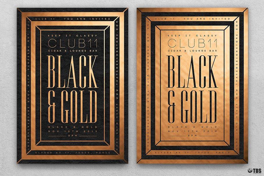 10款A4音乐会主题黑色&金色宣传单设计模板套装 10 Minimal Black & Gold Flyer Bundle插图(6)