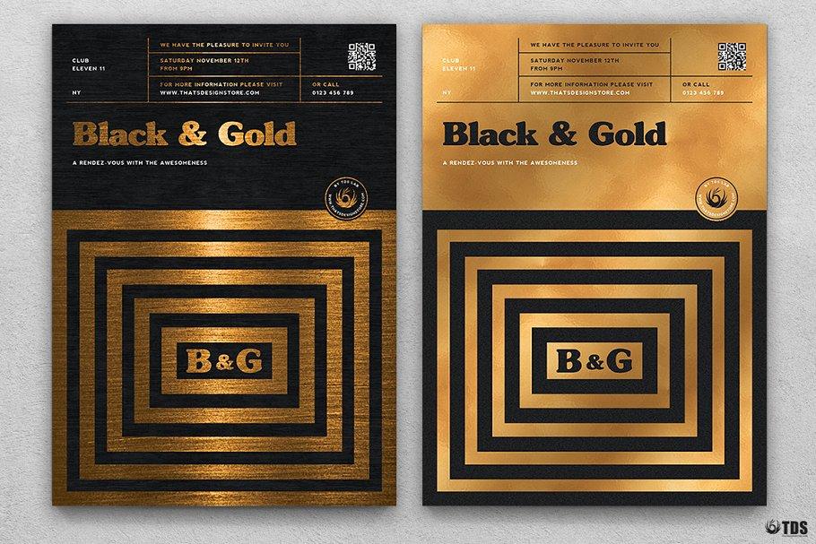 10款A4音乐会主题黑色&金色宣传单设计模板套装 10 Minimal Black & Gold Flyer Bundle插图(7)