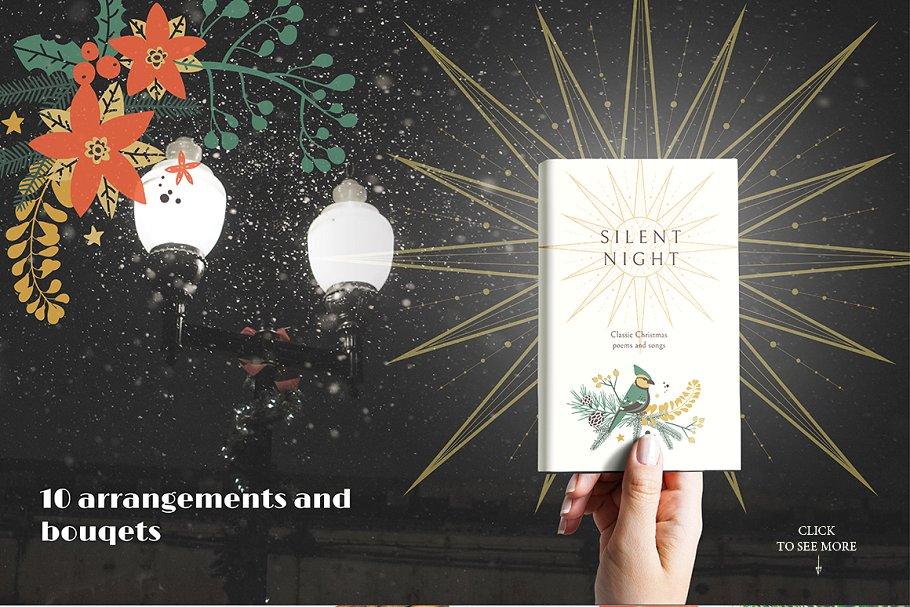 圣诞节主题手绘水彩植物装饰元素剪贴画合集 Classic Christmas. Clipart set插图(1)
