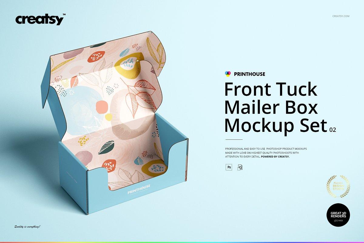 瓦楞纸材质包装盒外观设计效果图样机模板 Front Tuck Mailer Box Mockup Set 02插图