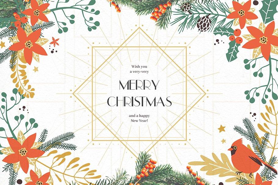 圣诞节主题手绘水彩植物装饰元素剪贴画合集 Classic Christmas. Clipart set插图(10)