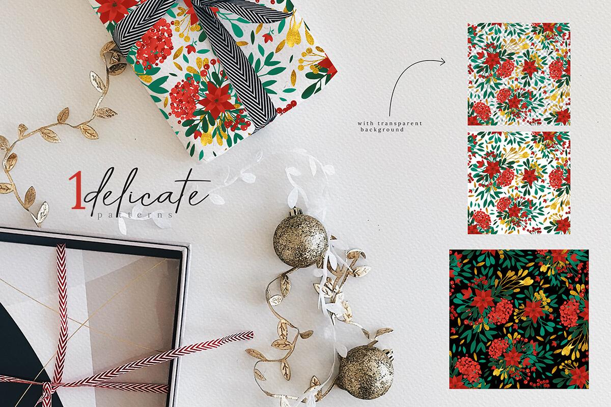 圣诞节主题手绘水彩花圈剪贴画集合 Christmas Watercolor Flowers Clipart Collection插图(9)