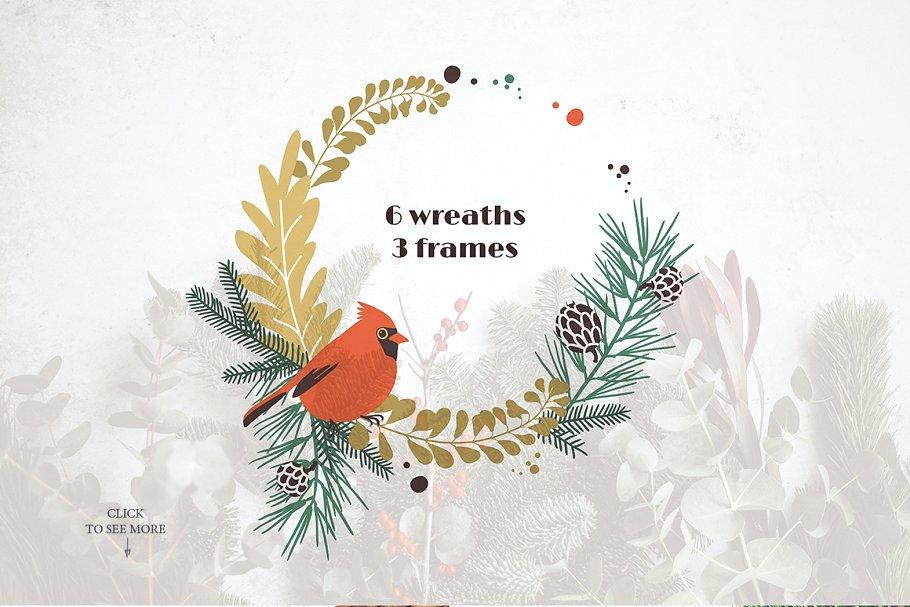 圣诞节主题手绘水彩植物装饰元素剪贴画合集 Classic Christmas. Clipart set插图(2)