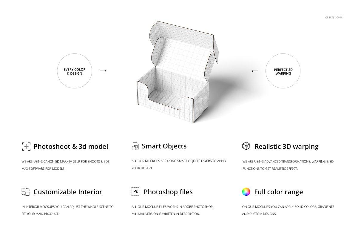 瓦楞纸材质包装盒外观设计效果图样机模板 Front Tuck Mailer Box Mockup Set 02插图(1)