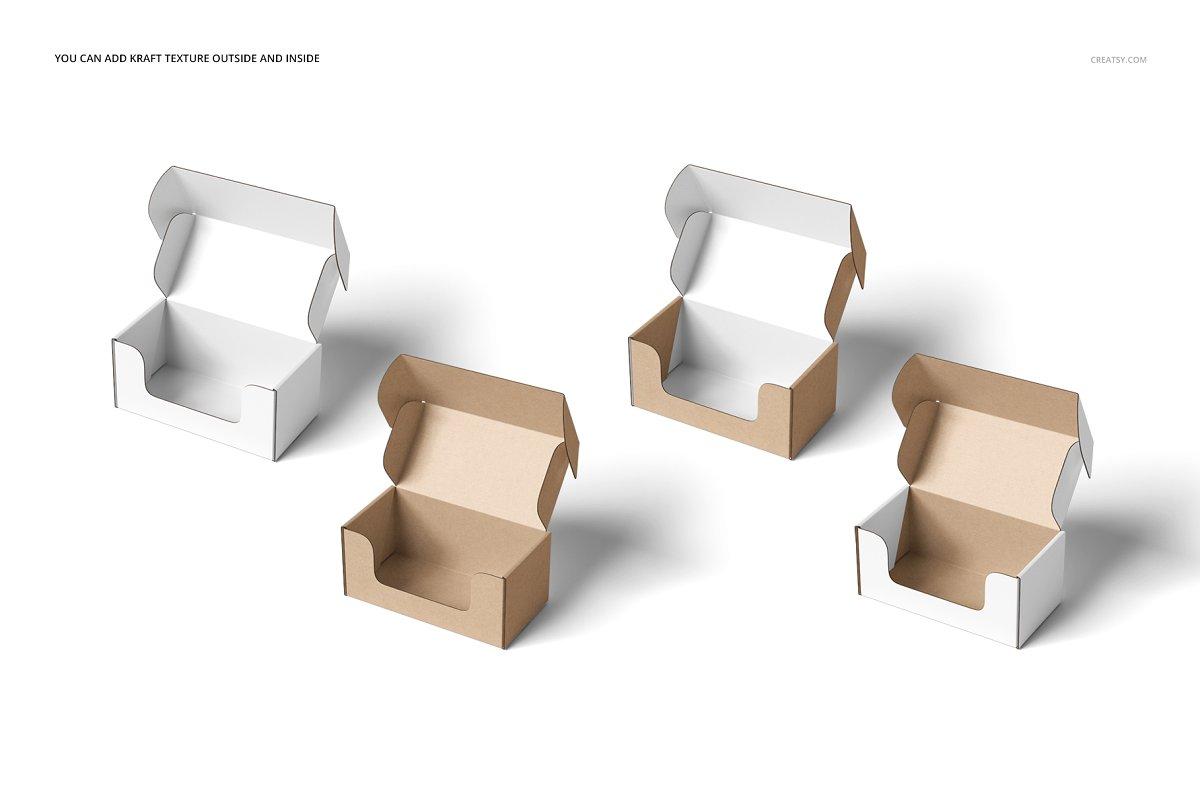 瓦楞纸材质包装盒外观设计效果图样机模板 Front Tuck Mailer Box Mockup Set 02插图(3)