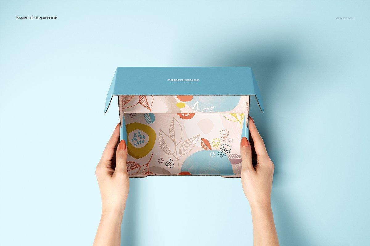 瓦楞纸材质包装盒外观设计效果图样机模板 Front Tuck Mailer Box Mockup Set 02插图(4)