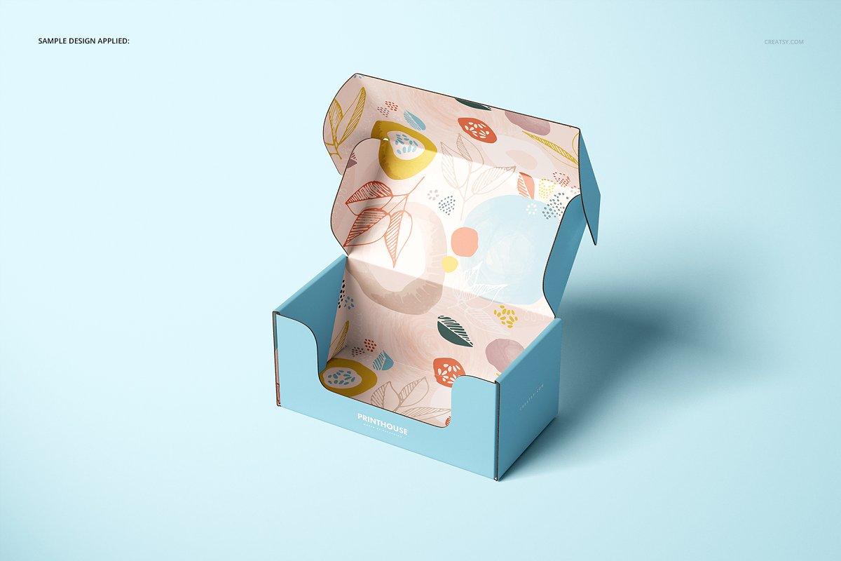 瓦楞纸材质包装盒外观设计效果图样机模板 Front Tuck Mailer Box Mockup Set 02插图(5)