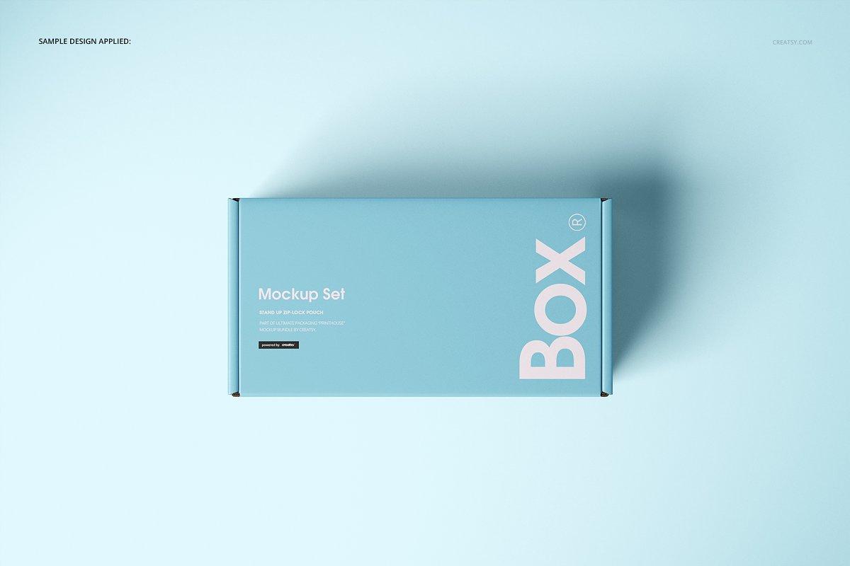 瓦楞纸材质包装盒外观设计效果图样机模板 Front Tuck Mailer Box Mockup Set 02插图(6)