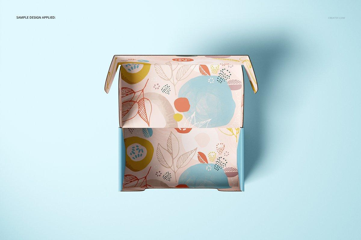 瓦楞纸材质包装盒外观设计效果图样机模板 Front Tuck Mailer Box Mockup Set 02插图(7)
