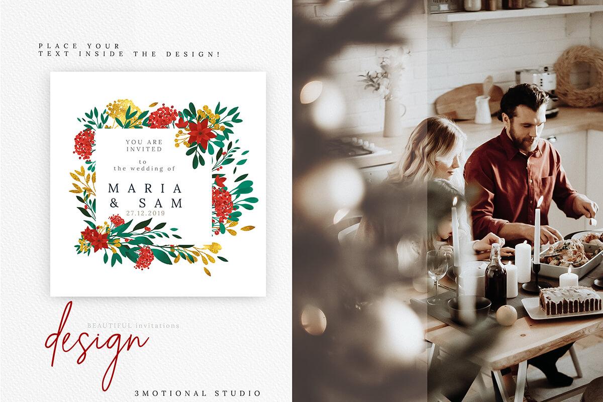 圣诞节主题手绘水彩花圈剪贴画集合 Christmas Watercolor Flowers Clipart Collection插图(8)