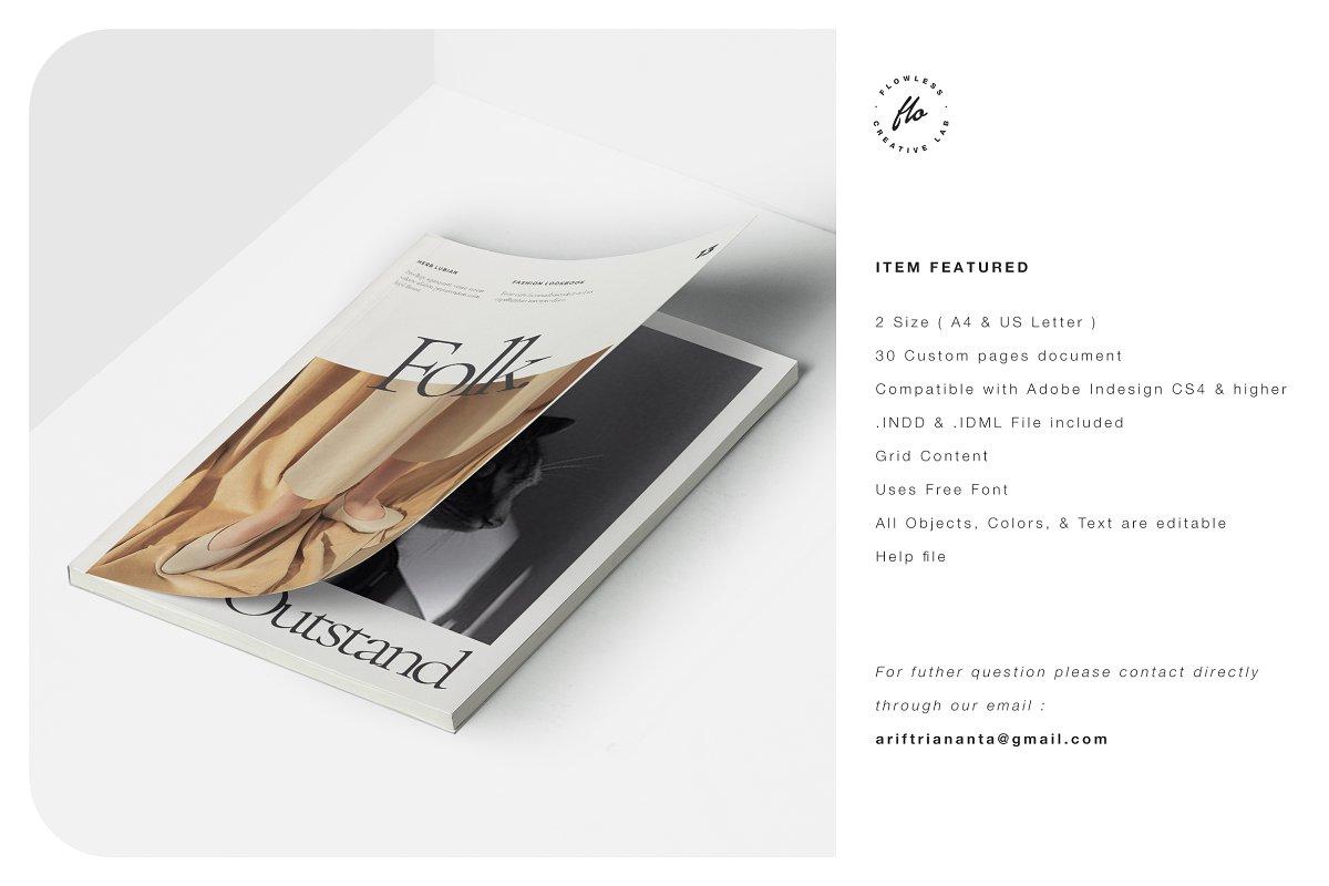 高端女性服装品牌宣传画册设计INDD模板 FOLK Fashion Lookbook插图(5)