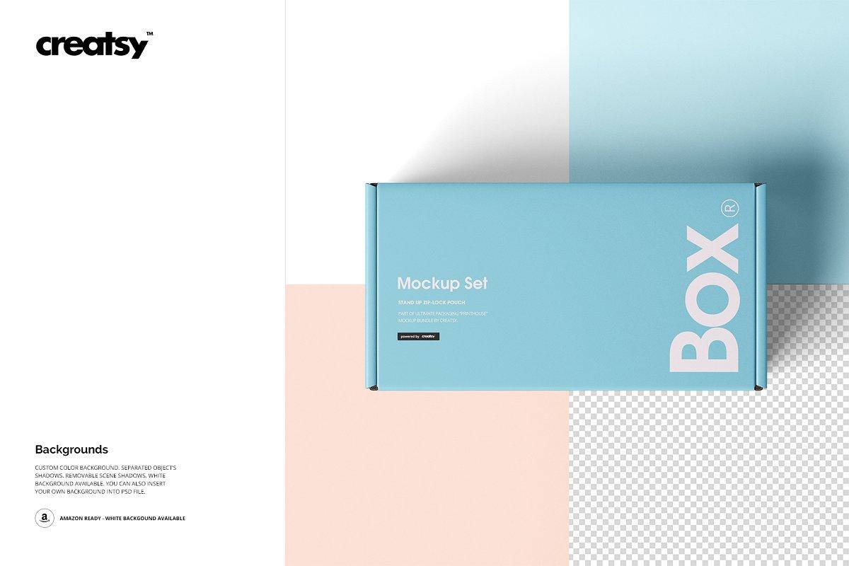 瓦楞纸材质包装盒外观设计效果图样机模板 Front Tuck Mailer Box Mockup Set 02插图(8)