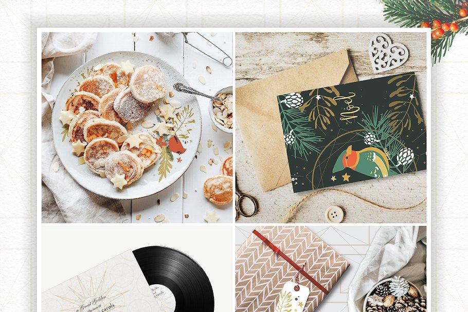 圣诞节主题手绘水彩植物装饰元素剪贴画合集 Classic Christmas. Clipart set插图(7)