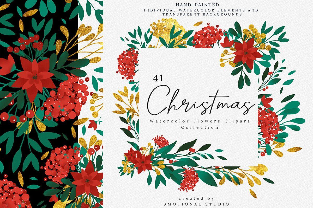圣诞节主题手绘水彩花圈剪贴画集合 Christmas Watercolor Flowers Clipart Collection插图