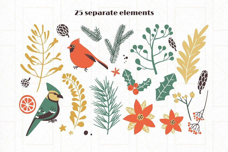 圣诞节主题手绘水彩植物装饰元素剪贴画合集 Classic Christmas. Clipart set插图(8)