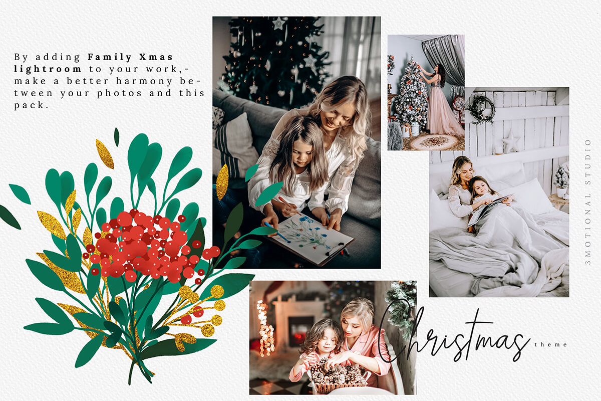 圣诞节主题手绘水彩花圈剪贴画集合 Christmas Watercolor Flowers Clipart Collection插图(7)