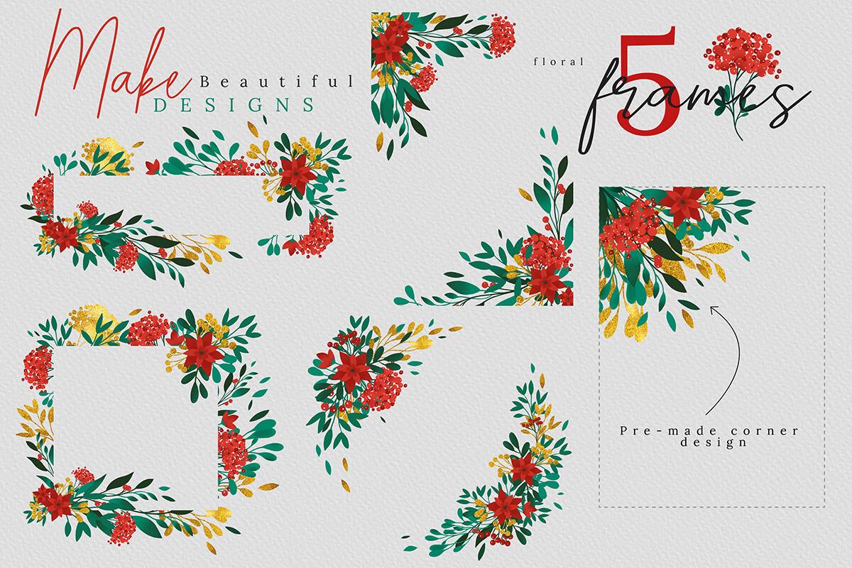 圣诞节主题手绘水彩花圈剪贴画集合 Christmas Watercolor Flowers Clipart Collection插图(2)