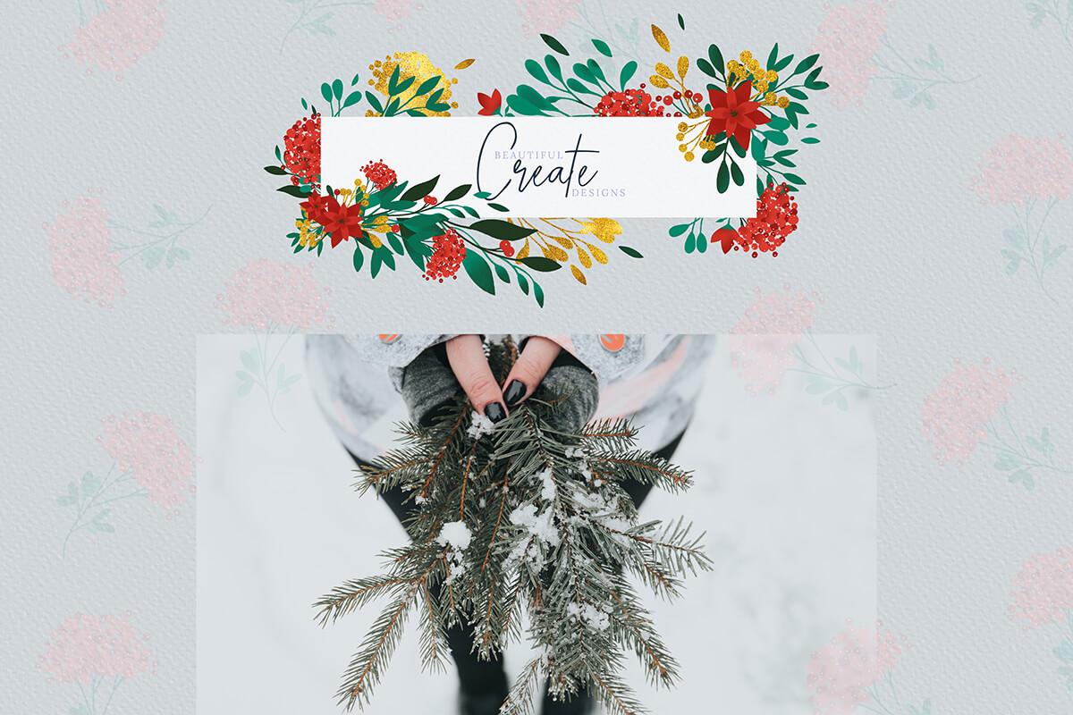 圣诞节主题手绘水彩花圈剪贴画集合 Christmas Watercolor Flowers Clipart Collection插图(5)