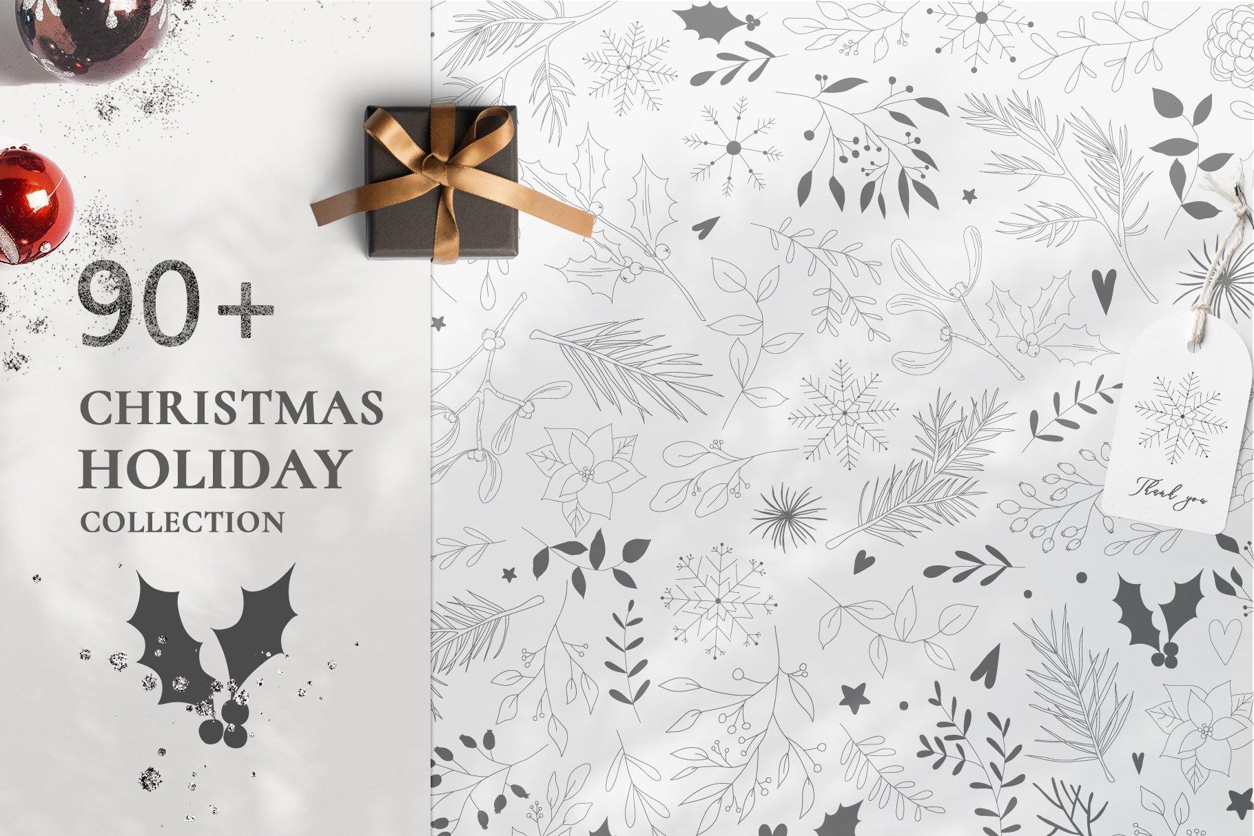 圣诞节主题手绘树叶画框矢量图形设计素材 Christmas Holiday Collection插图