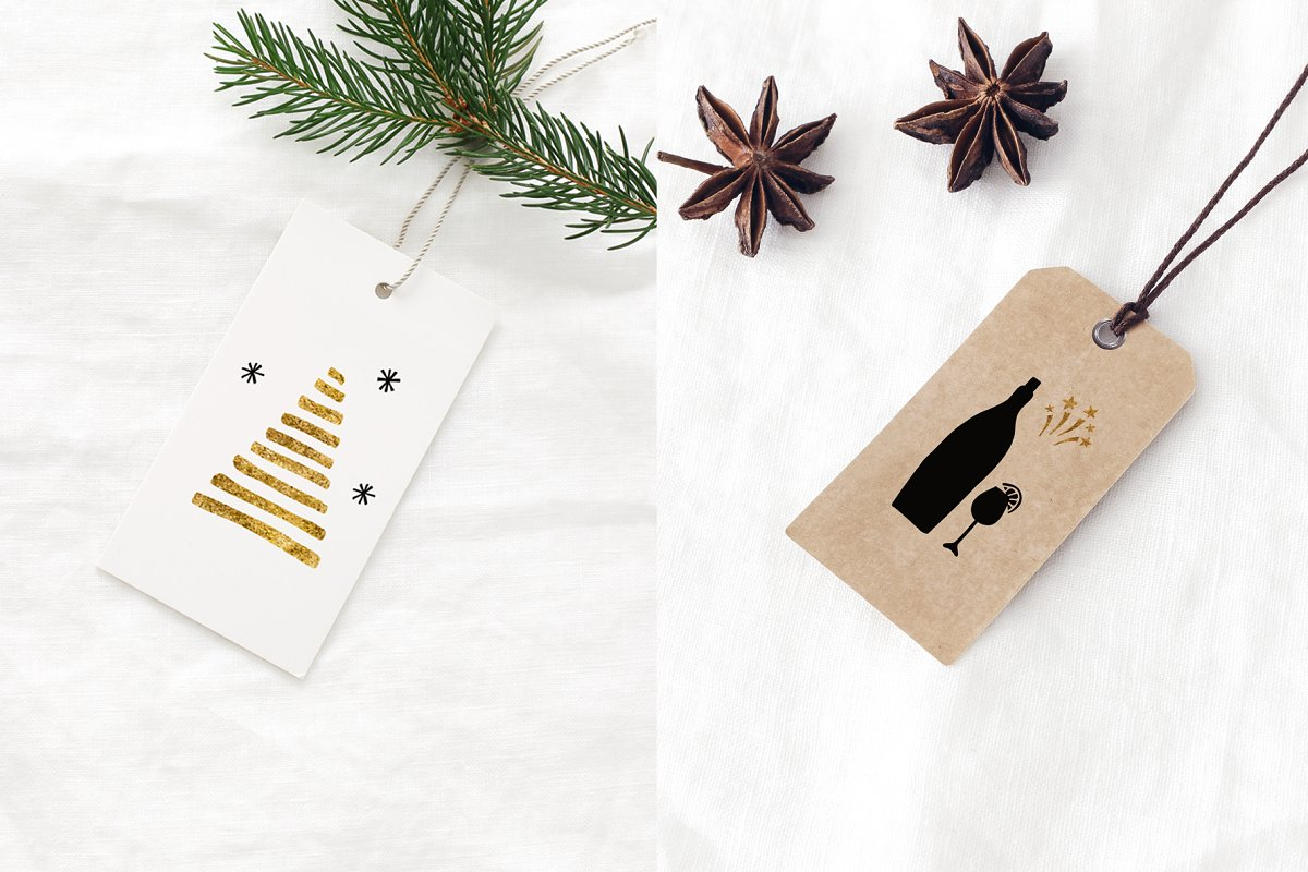 圣诞节主题多元素矢量插图合集 Christmas Holiday Cards & Tags Set插图(7)