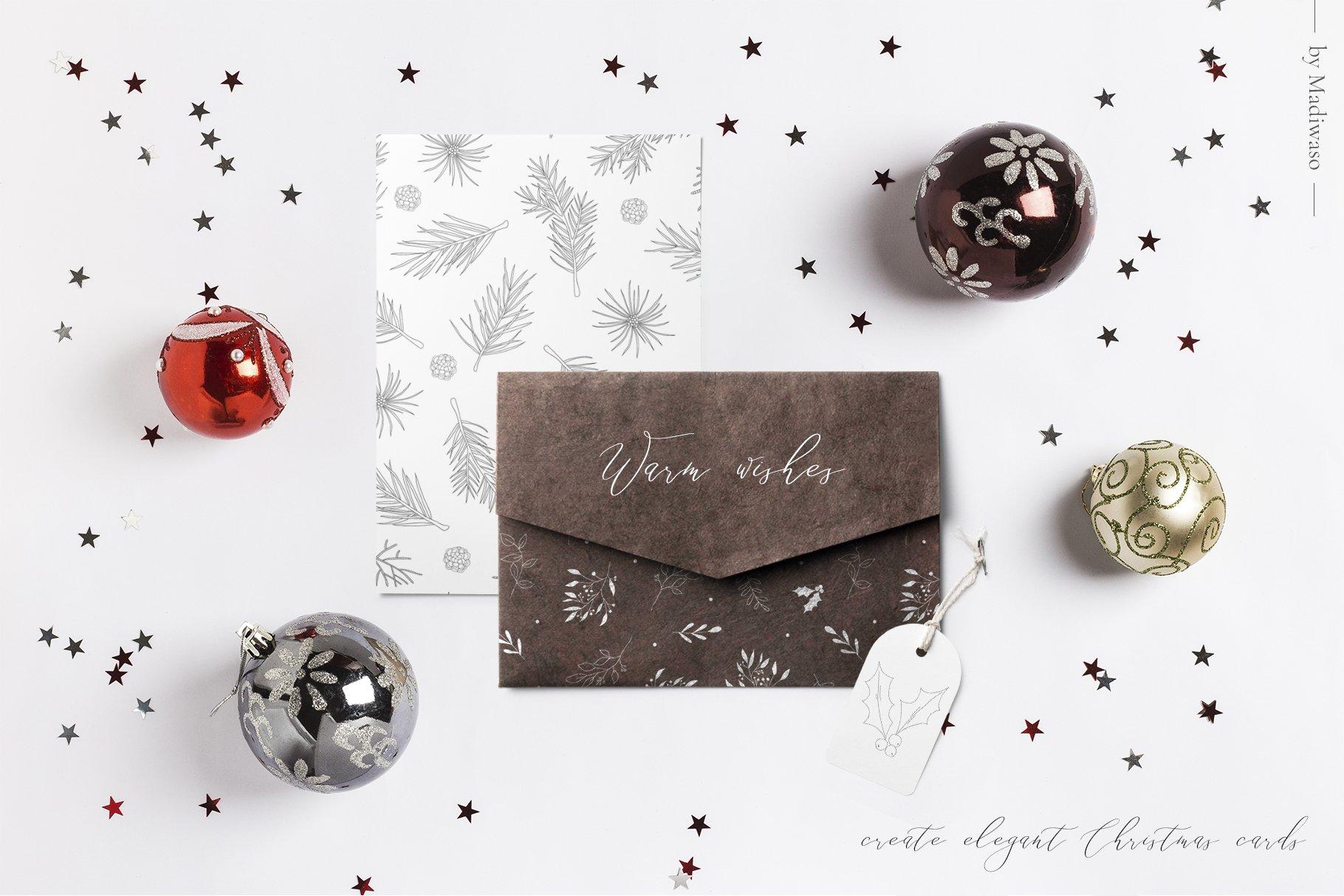 圣诞节主题手绘树叶画框矢量图形设计素材 Christmas Holiday Collection插图(2)