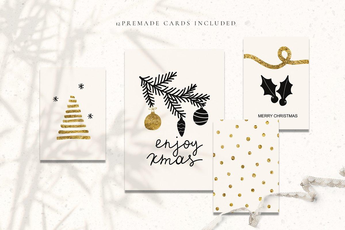 圣诞节主题多元素矢量插图合集 Christmas Holiday Cards & Tags Set插图(3)