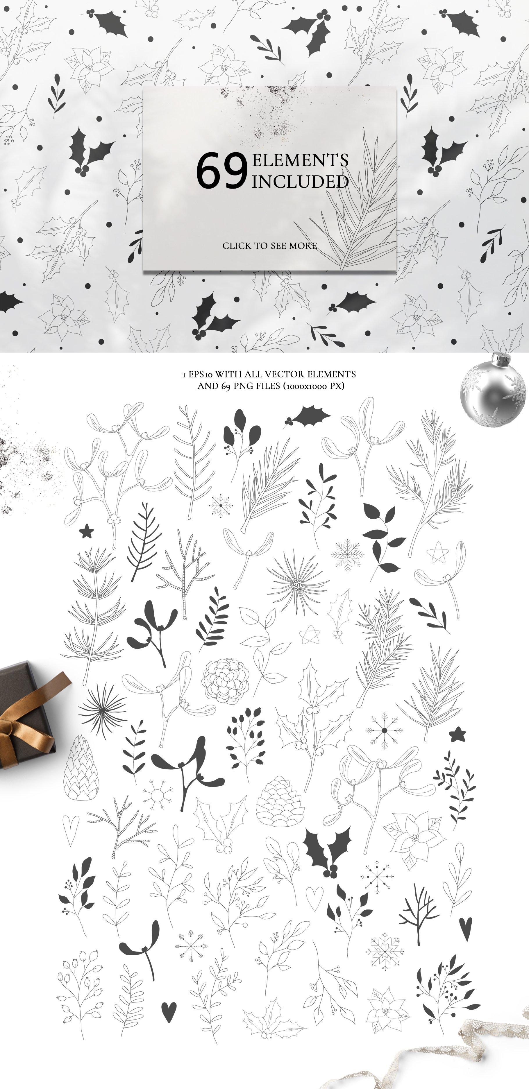 圣诞节主题手绘树叶画框矢量图形设计素材 Christmas Holiday Collection插图(8)