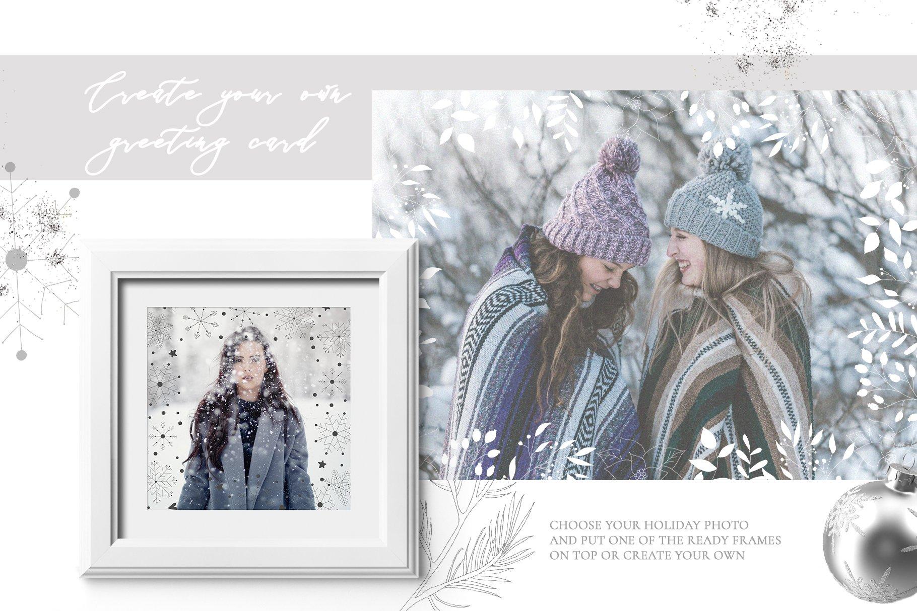 圣诞节主题手绘树叶画框矢量图形设计素材 Christmas Holiday Collection插图(1)