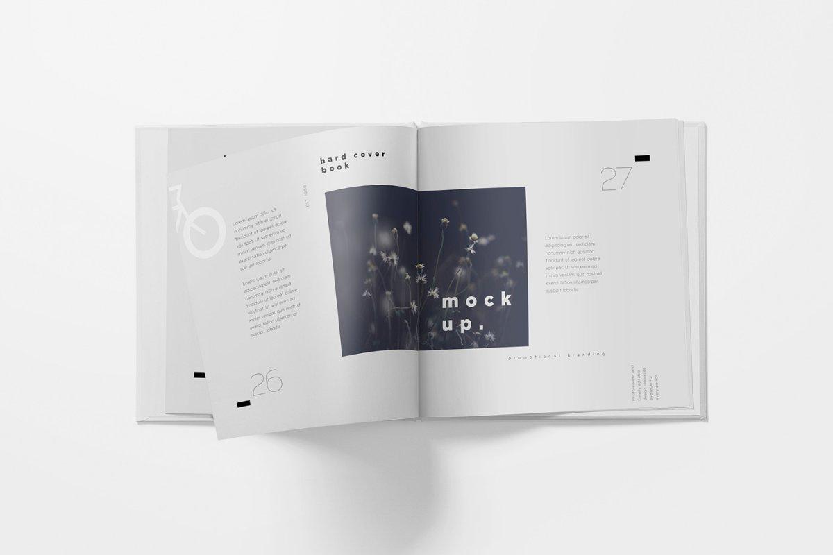 正方形精装书画册设计样机模板 Square Hardcover Book Mockups插图(3)