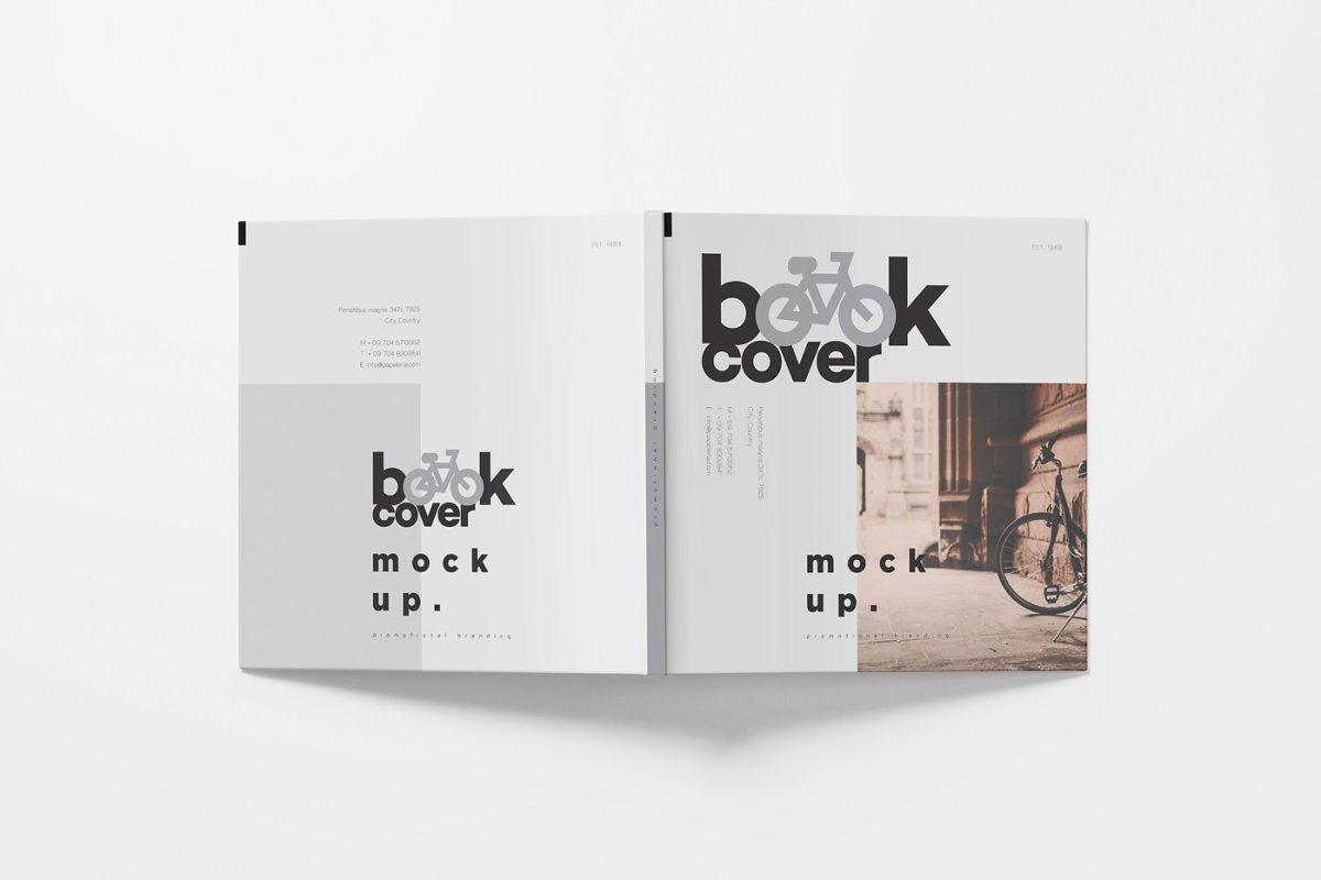 正方形精装书画册设计样机模板 Square Hardcover Book Mockups插图(4)