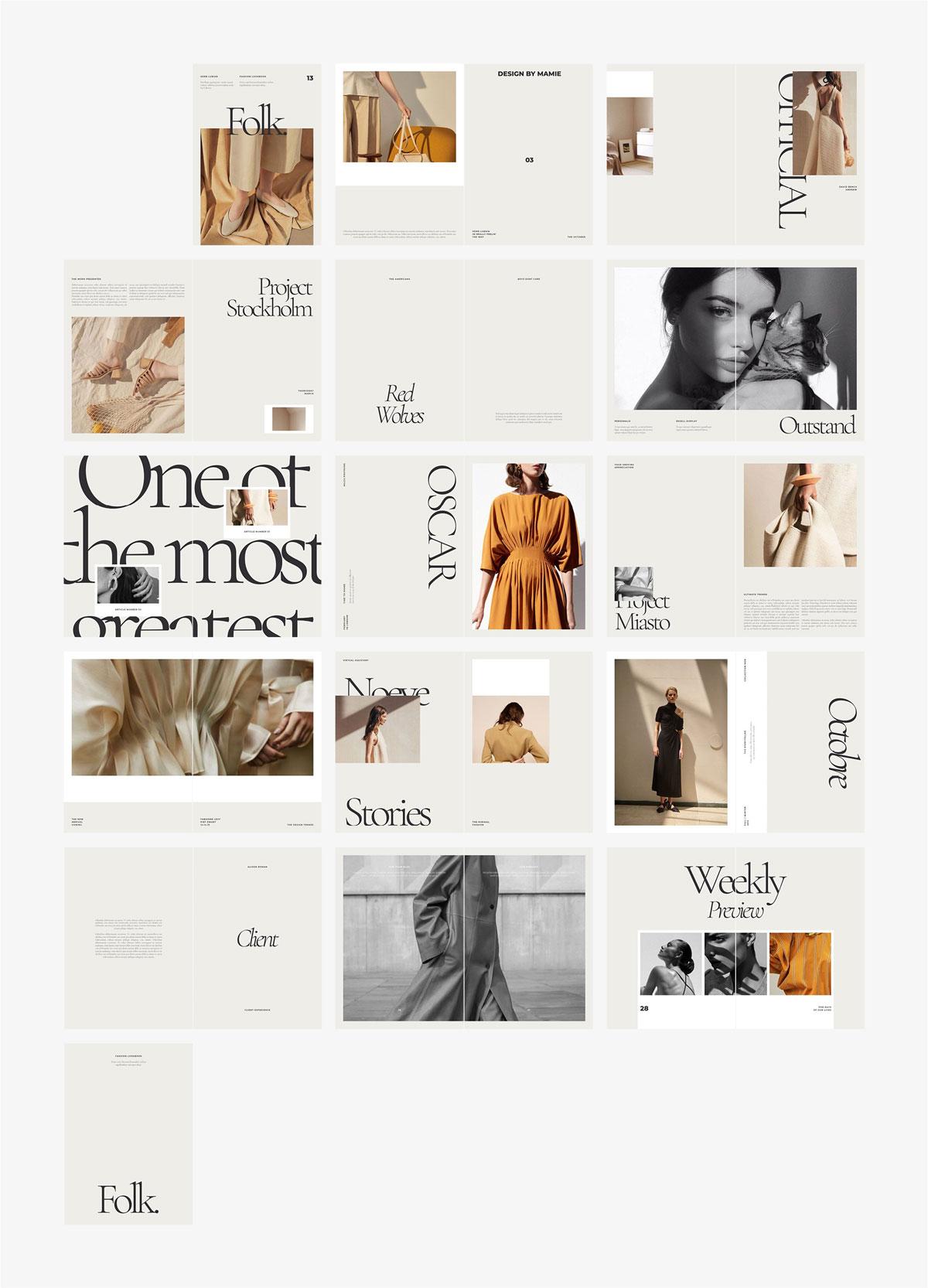 高端女性服装品牌宣传画册设计INDD模板 FOLK Fashion Lookbook插图(6)