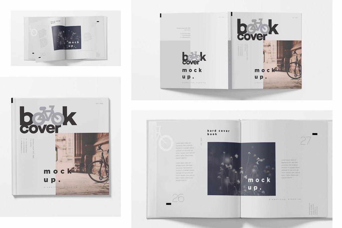 正方形精装书画册设计样机模板 Square Hardcover Book Mockups插图(1)
