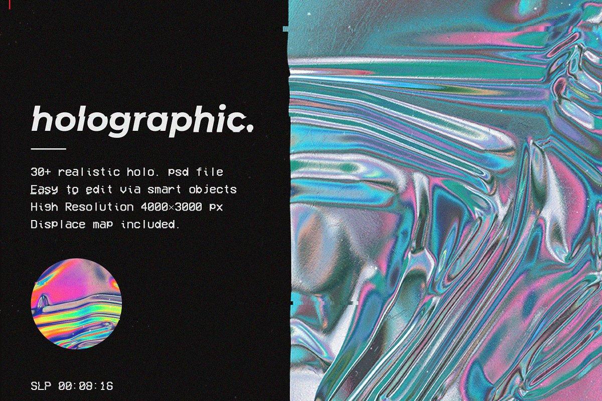 30款超逼真金箔纸设计效果图样机模板 Holographic Foil Mockup Template插图
