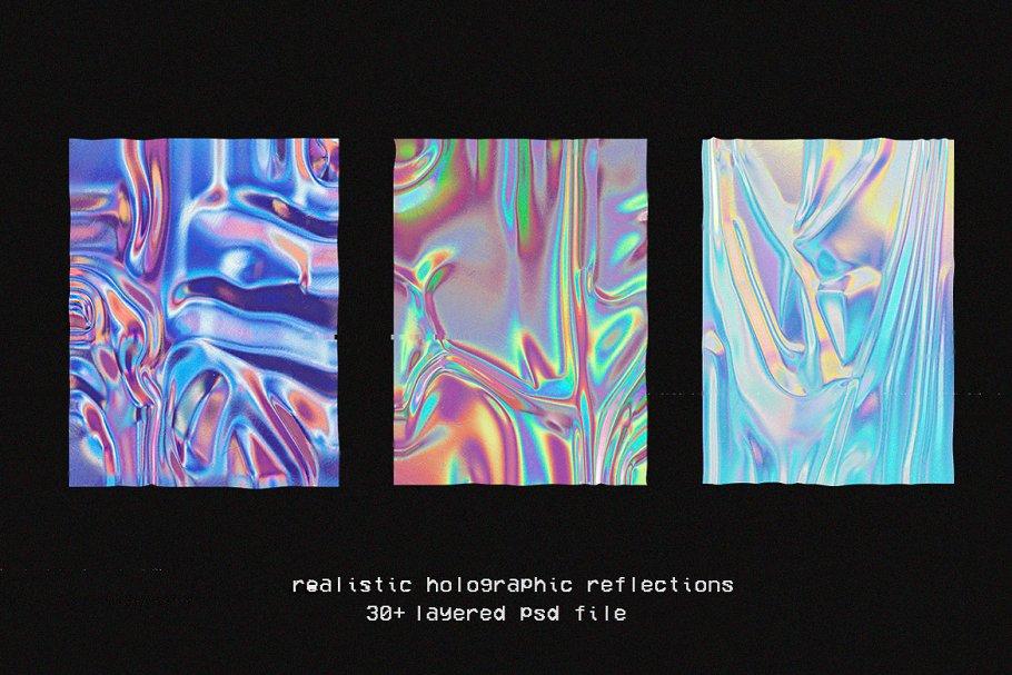 30款超逼真金箔纸设计效果图样机模板 Holographic Foil Mockup Template插图(1)