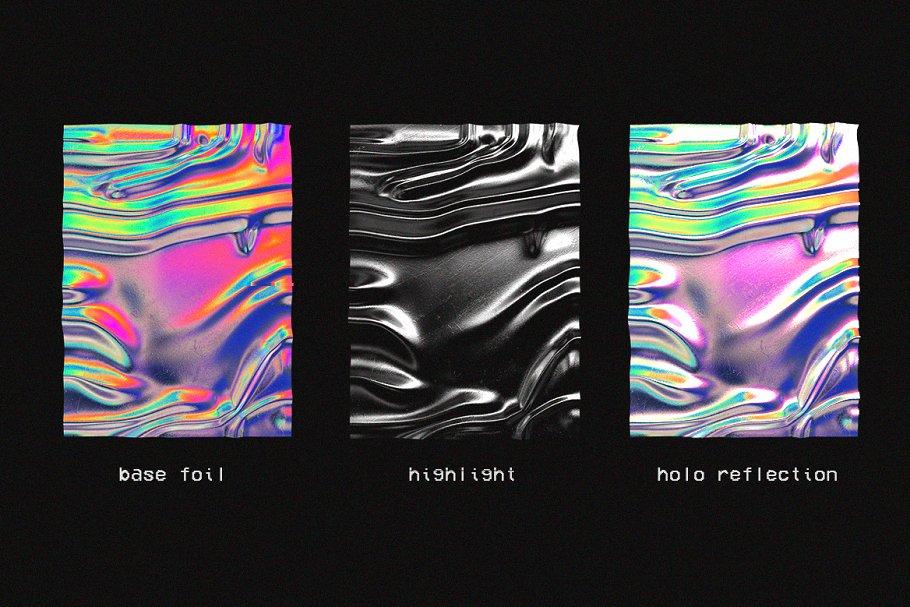 30款超逼真金箔纸设计效果图样机模板 Holographic Foil Mockup Template插图(2)