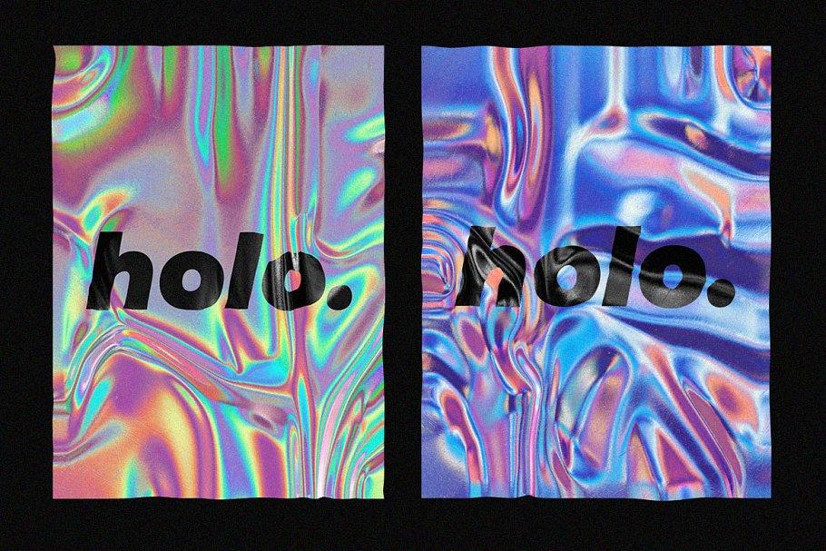30款超逼真金箔纸设计效果图样机模板 Holographic Foil Mockup Template插图(5)