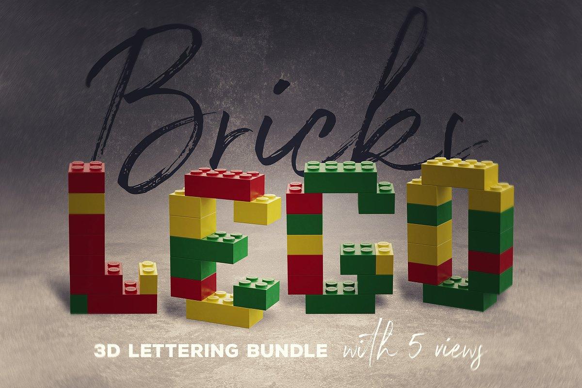 逼真乐高积木3D效果大写字母字体PS图层样式 Toy Bricks 3D Lettering插图