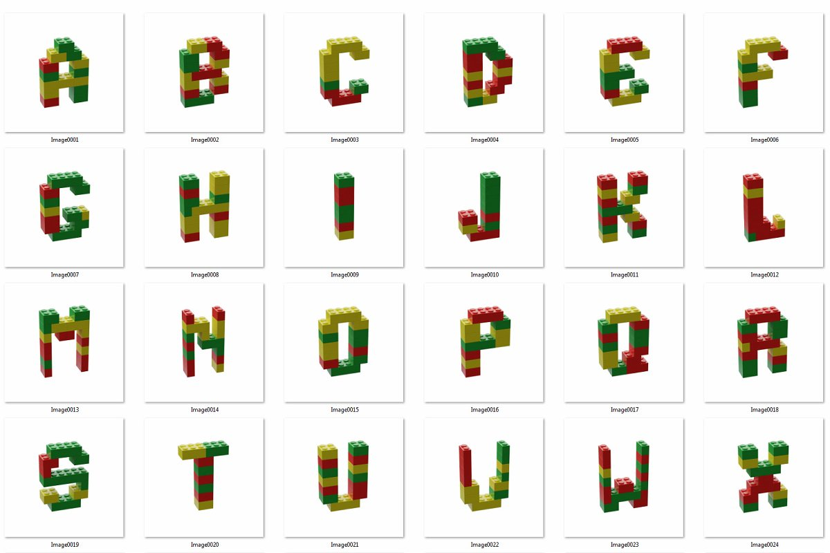 逼真乐高积木3D效果大写字母字体PS图层样式 Toy Bricks 3D Lettering插图(10)