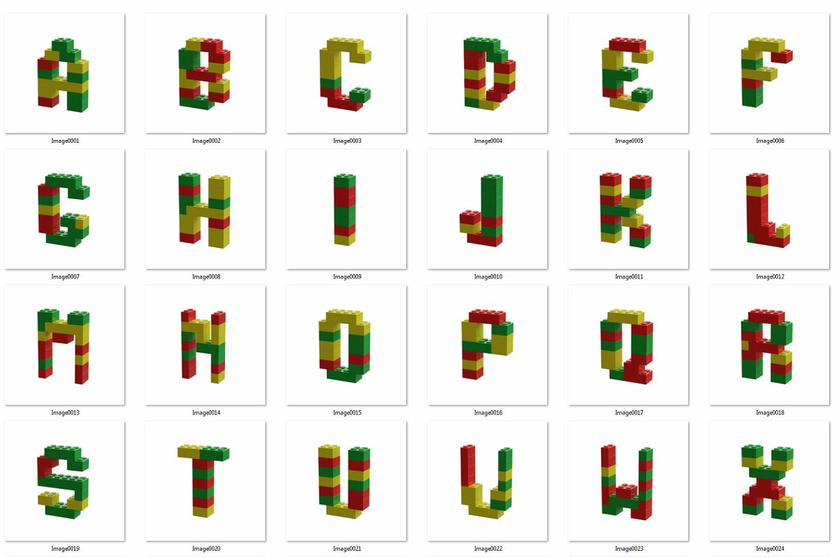 逼真乐高积木3D效果大写字母字体PS图层样式 Toy Bricks 3D Lettering插图(11)