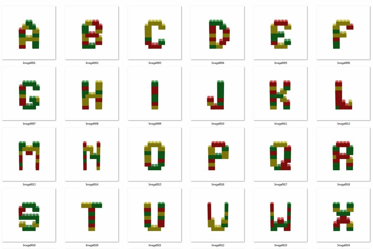 逼真乐高积木3D效果大写字母字体PS图层样式 Toy Bricks 3D Lettering插图(13)