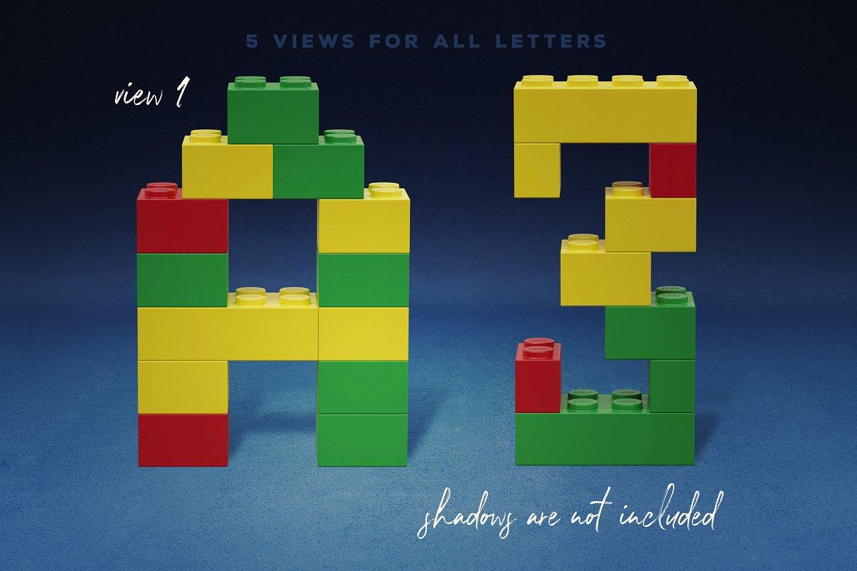 逼真乐高积木3D效果大写字母字体PS图层样式 Toy Bricks 3D Lettering插图(4)